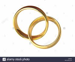 linked wedding rings two gold rings linked together laced rings isolated white stock