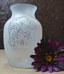Day Of The Dead Home Decor Fully Glass Etched Vase With Sugar Skull Day Of The Dead