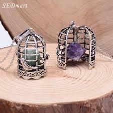 silver rock necklace images Sedmart antique silver crystal bird cage pendant necklace locket jpg