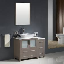 Bathroom Vanity With Side Cabinet Torino 42 Gray Oak Modern Bathroom Vanity W Side Cabinet