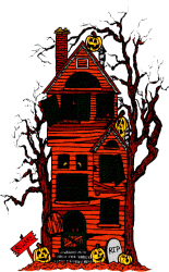 house animated spooky halloween witches ghosts skeletons bats and goblin