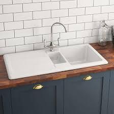 X Kitchen Sink - butler u0026 rose 1 5 bowl white ceramic kitchen sink with reversible