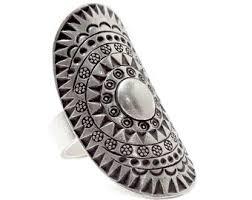 long silver rings images Sterling silver long mandala boho statement ring handmade jpg