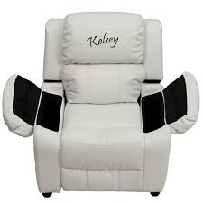 baby i am deluxe padded white vinyl kids recliner with storage arms