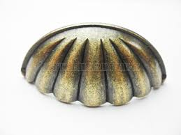 Real Seashell Cabinet Knobs by Vintage Type Antique Brass Color 77mmx30mm Seashell Cup Pulls