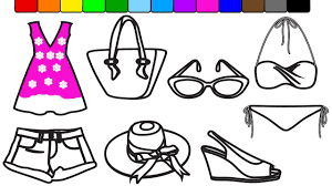 fashion coloring page learn colors for baby girls with summer fashion coloring pages