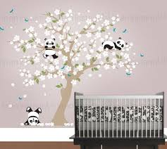 stickers panda chambre bébé panda wall decal playful pandas in cherry blossom tree custom