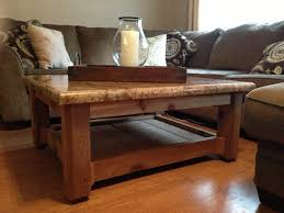 custom made rustic coffee table cedar base and granite top the