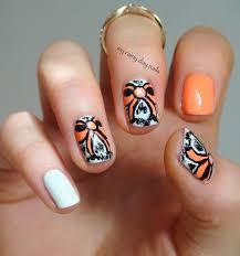 my rainy day nails orange bows
