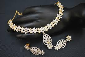diamond necklace sets images Fascinating american diamond necklace set jpg