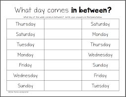 days of the week worksheets worksheets calendar time and shops