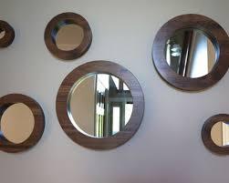 Circle Wall Mirrors Porthole Mirror Set Six Solid Walnut Round Wall Mirrors