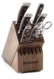 amazon com wusthof ikon 8 piece knife set with blackwood handles