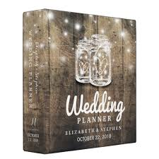 wedding planning binders rustic wood jar string light wedding planner binder zazzle