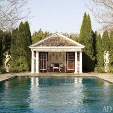pool house rock the potted boxwood