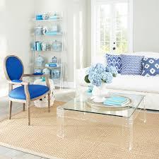 modern minimalist living room design with square acrylic coffee