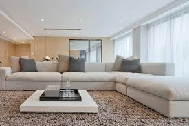 coffee table large space white modern living room area with gray