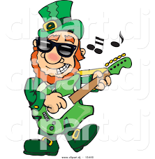cartoon vector clipart of a st patrick u0027s day leprechaun playing a