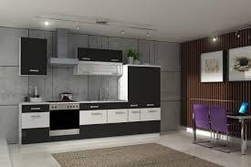 einbauk che billig küche fabienne 310 cm küchenzeile in schwarz weiß küchenblock