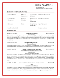 Bar Manager Job Description Resume by Restaurant Resume Example Resume Format Download Pdf Best Busser