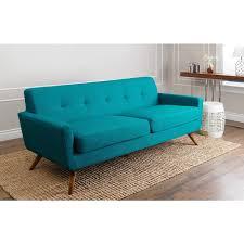 mid century style sofa abbyson living bradley petrol blue fabric mid century style sofa