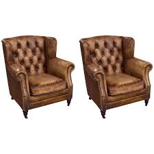 Distress Leather Chair Pair Of English Library Chairs With Distressed Leather For Sale At