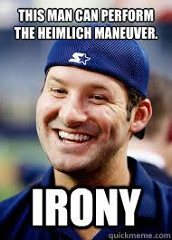 Philip Rivers Meme - this man can perform the heimlich maneuver irony tony romo vs