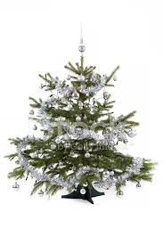 decorated tree with silver balls stock photos