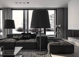 Oversized Floor Lamp A Single Family Home Interior In Cool Shades Of Gray