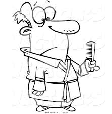 vector of a cartoon man holding a comb coloring page outline by