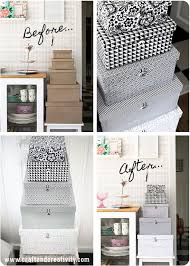 storage box makeover covering plain boxes with patterned paper