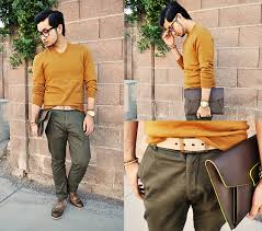 trouve sweater shawn c huckstraps khaki belt navy v neck sweater h m