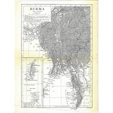 Map Burma Authentic Pre World War I Antique Map Burma 1910 8 5