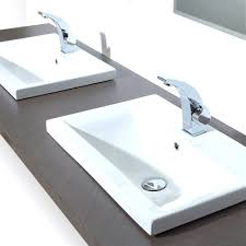 Bathroom Trough Sink Sophisticated White Commercial Trough Sink With Wooden Soap Dish
