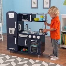 kidkraft navy retro vintage pretend play kids wooden kitchen