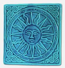 summer sun art tile home wall decor zodiac handmade relief carved