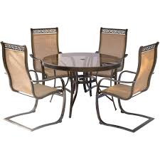 hanover monaco 5 piece aluminum outdoor dining set with round