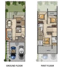 damac dubai akoya fresh villas three bedrooms floor layout plan