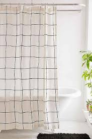 Black White Shower Curtain And White Grid Shower Curtain