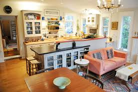 Kitchen Table Island Combo Open Concept Kitchen Living Room Small Space Queen Anne Remodel