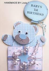 first birthday teddy bear handmade boy card by bigorangetabby