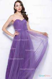 classic strapless sweetheart lilac purple long tulle bridesmaid