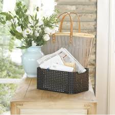 buy small rattan style plastic storage basket dark brown