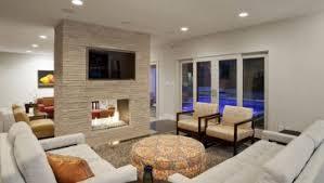 modern coffee table glass light wood floor beige tile fireplace