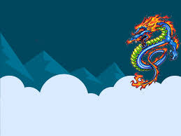 chinese dragon ppt backgrounds animals blue green red white