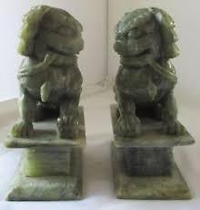 foo dog bookends vintage pair jade green carved foo dog bookends statues ebay