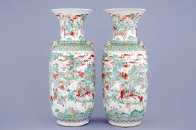 Large Chinese Vases A Pair Of Large Chinese Famille Verte Warrior Vases 19th C Rob