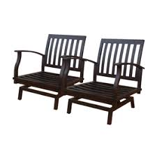 Motion Patio Chairs Allen Roth Set Of 2 Gatewood Brown Aluminum Slat Patio
