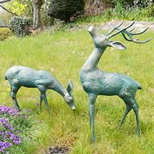 deer bronze statues metal garden ornaments co uk garden