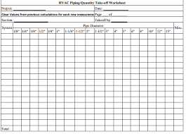 Take Sheet Template Construction Estimating Hvac Piping Sheets